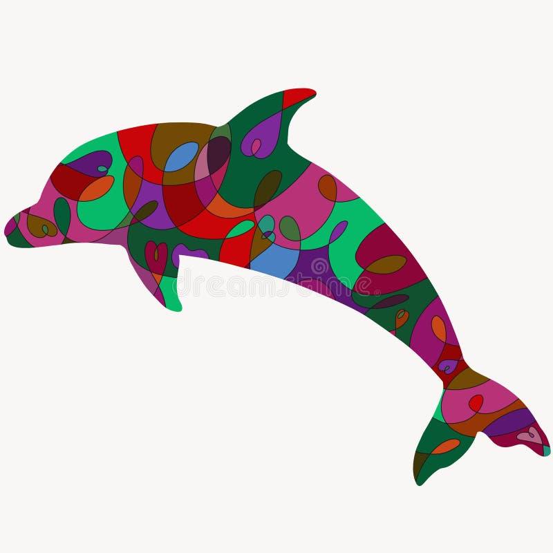 Sylwetka delfin z romantycznym kolorowym wzorem ilustracji