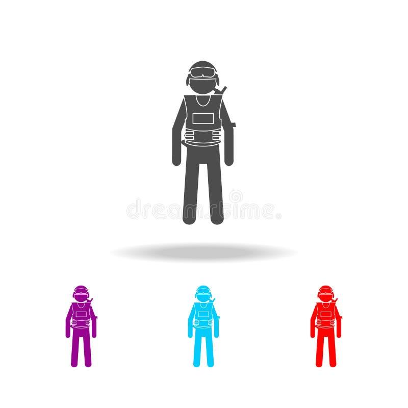 Sylwetka dodatek specjalny dowodzi pacnięcie w czerń munduru ikonie Elementy jednostki specjalne w wielo- barwionych ikonach Prem ilustracja wektor