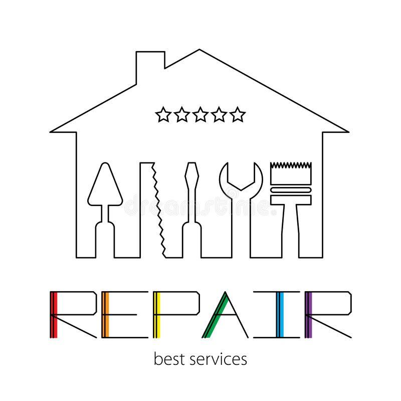 Sylwetka dom z narzędziami dla naprawy Logo naprawa dom z kolorowym literowaniem na białym tle ilustracji