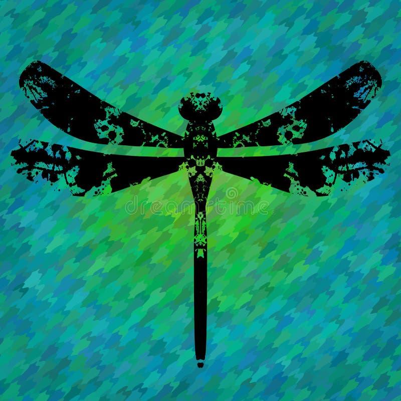 Sylwetka dragonfly malujący kleksami royalty ilustracja