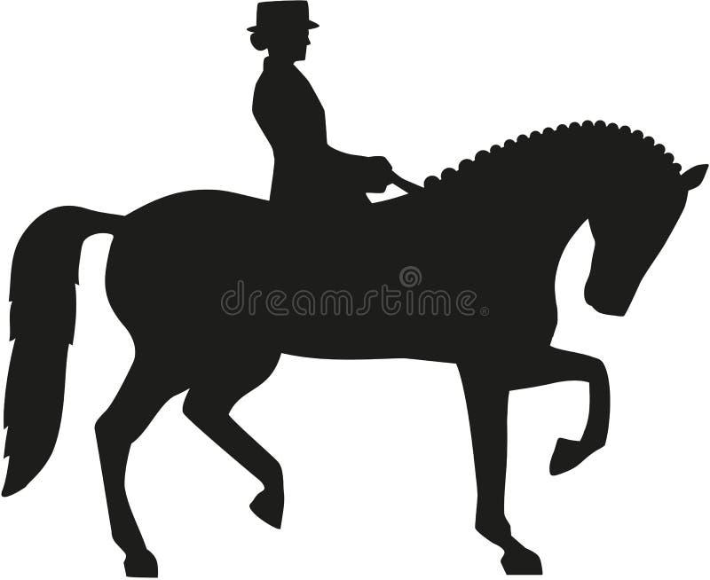 Sylwetka dressage koń ilustracji