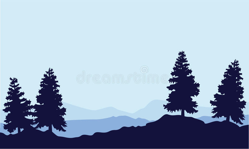 Sylwetka drzewna świerczyna na wzgórze krajobrazie ilustracji