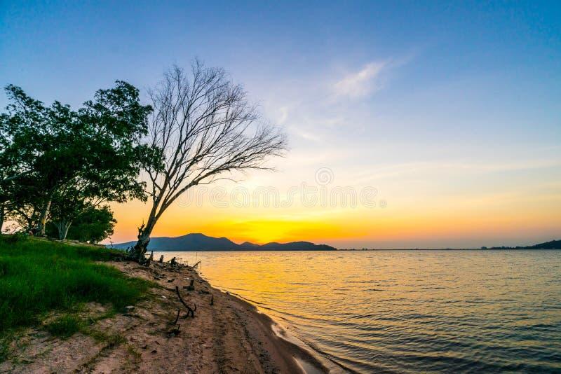 Sylwetka drzewo i rybak przy rezerwuarem ?omotamy Phra, Sriracha, Chonburi, Tajlandia, w zmierzchu zdjęcia stock