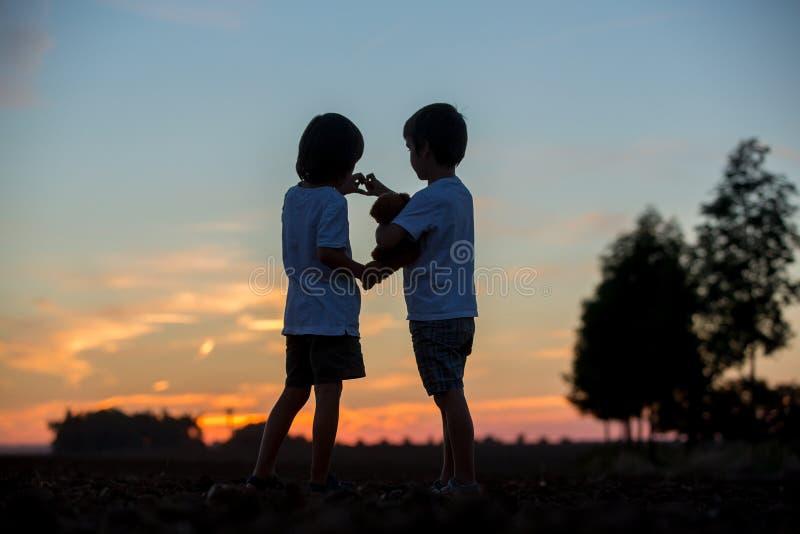 Sylwetka dwa dziecka, chłopiec bracia, robi kierowemu kształta dowcipowi obraz royalty free