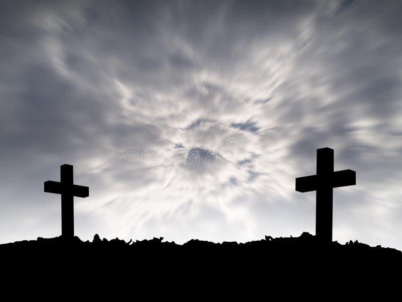 Sylwetka dwa krzyż na wzgórze wierzchołku z ruch burzy ciemnymi chmurami na dramatycznym nieba tle zdjęcia stock