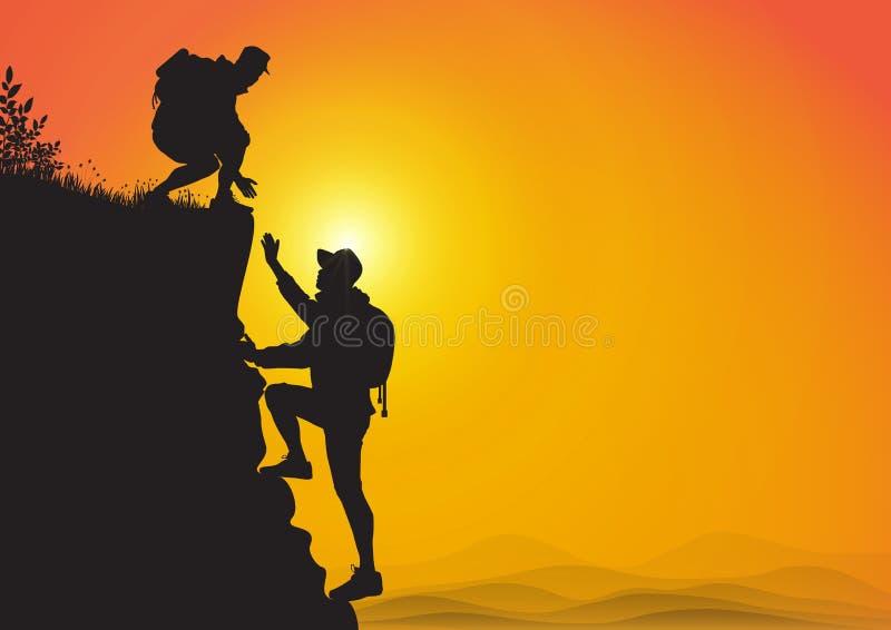 Sylwetka dwa mężczyzny wycieczkuje wspinaczkową górę i pomaga each inny na wschód słońca tle, pomocnej dłoni i pomocy pojęciu, ilustracji