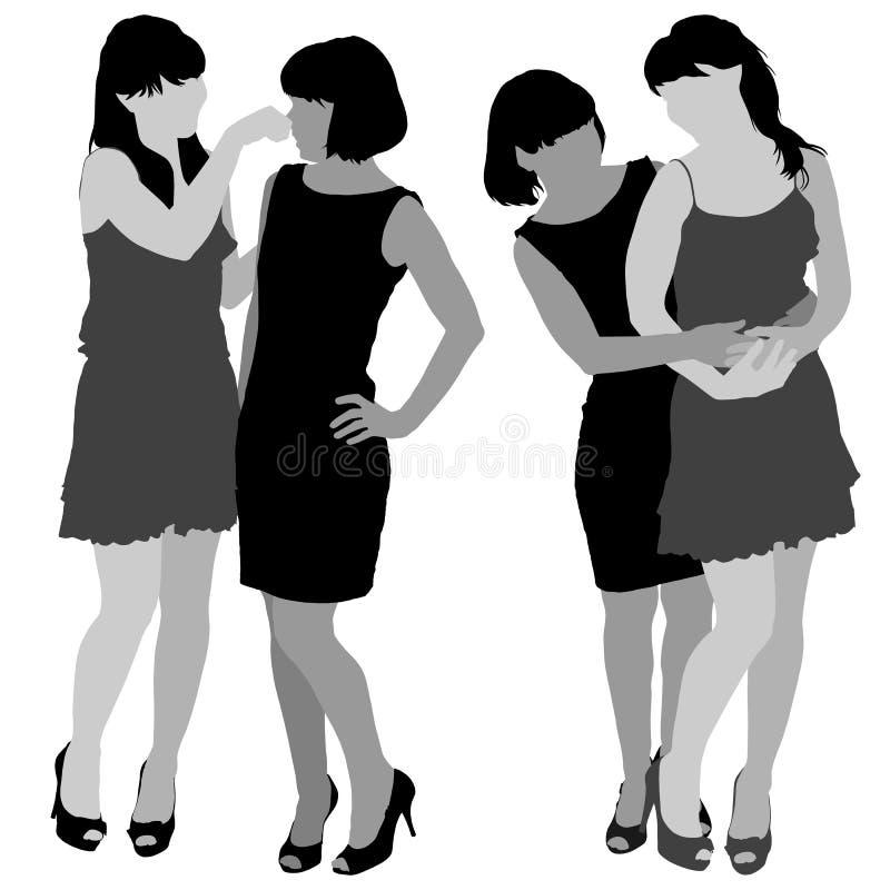 Sylwetka dwa młodej nikłej kobiety royalty ilustracja