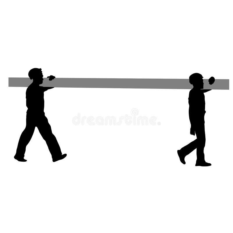 Sylwetka dwa pracownika budowlanego niesie drymbę również zwrócić corel ilustracji wektora ilustracja wektor