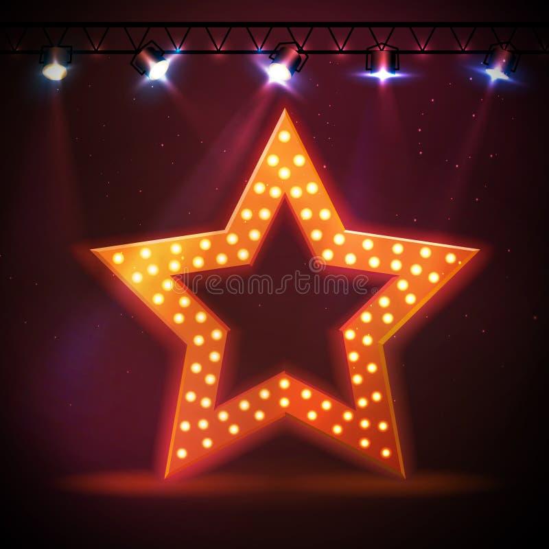 Sylwetka dyskoteki gwiazdy retro znak ilustracja wektor