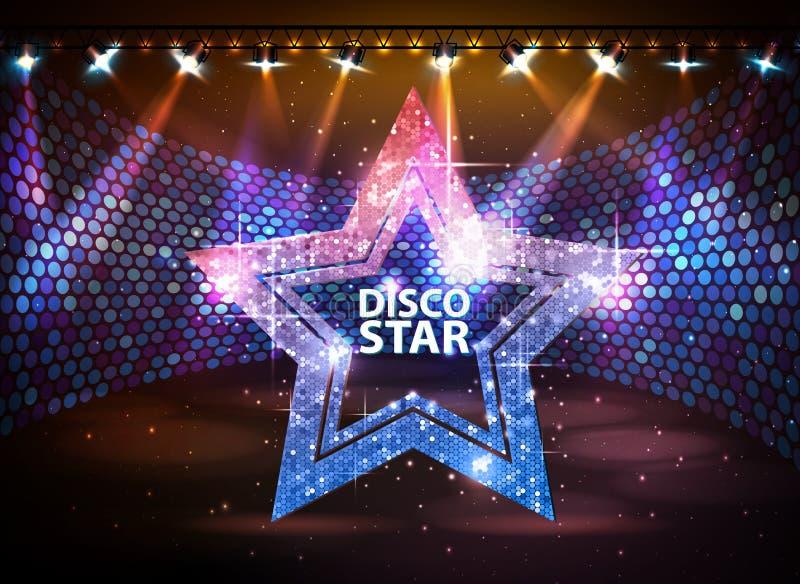 Sylwetka dyskoteki gwiazdy znak na dyskoteki sceny tle royalty ilustracja