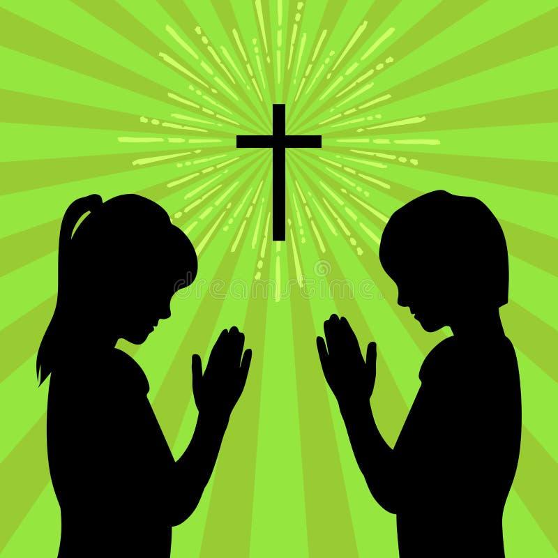 Sylwetka dzieci obracający bóg z modlitwą i cześć ilustracja wektor