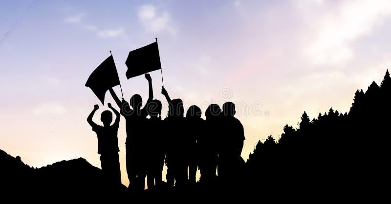 Sylwetka dzieciaki z flaga przeciw niebu ilustracji