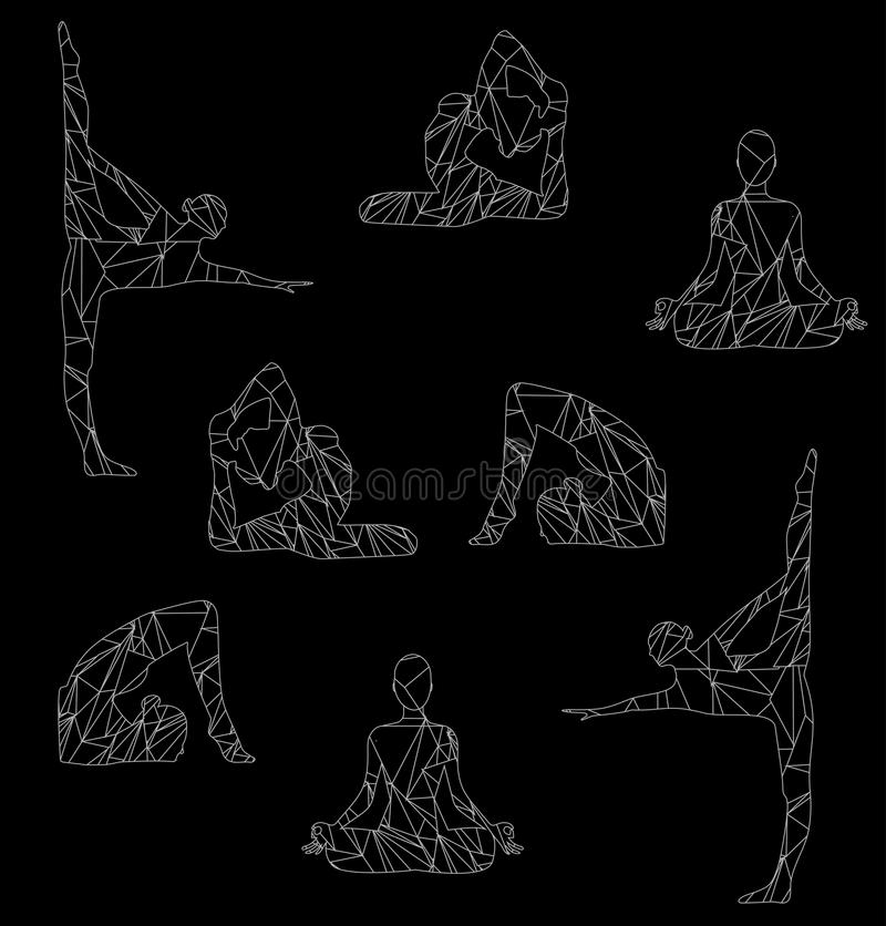 sylwetka dziewczyna angażująca w joga ilustracja wektor