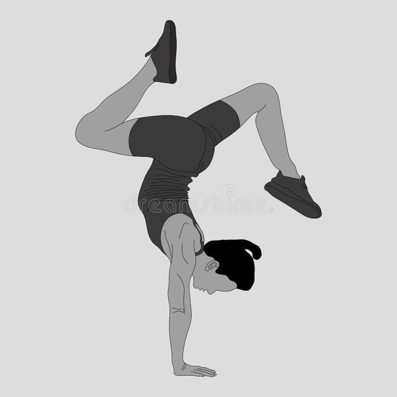 Sylwetka dziewczyna, gimnastyka, bawi się ilustracji