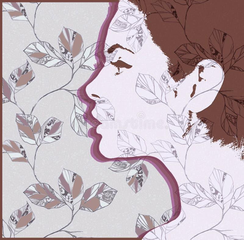 Sylwetka dziewczyna Kobieta profil z textured wzorem royalty ilustracja