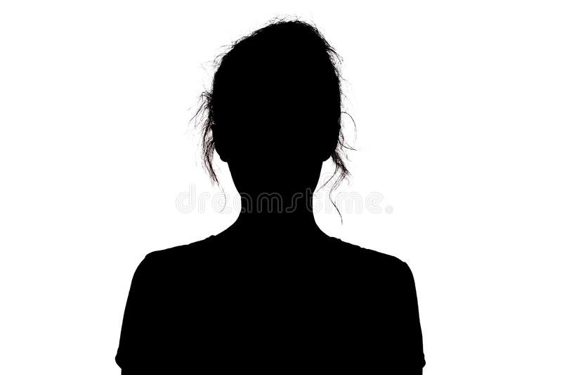 Sylwetka dziewczyna pewnie patrzeje naprzód, młodej kobiety głowa z kędziorem na białym odosobnionym tle fotografia stock