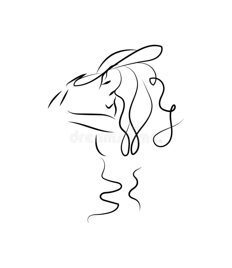 Sylwetka dziewczyna w profilu Monochromatyczny rysunek Piękna młoda dziewczyna w kapeluszu elegancka portret kobieta nakreślenie royalty ilustracja