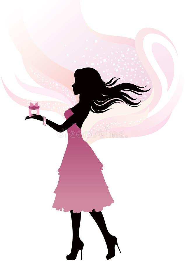 Sylwetka dziewczyna z prezentem ilustracja wektor