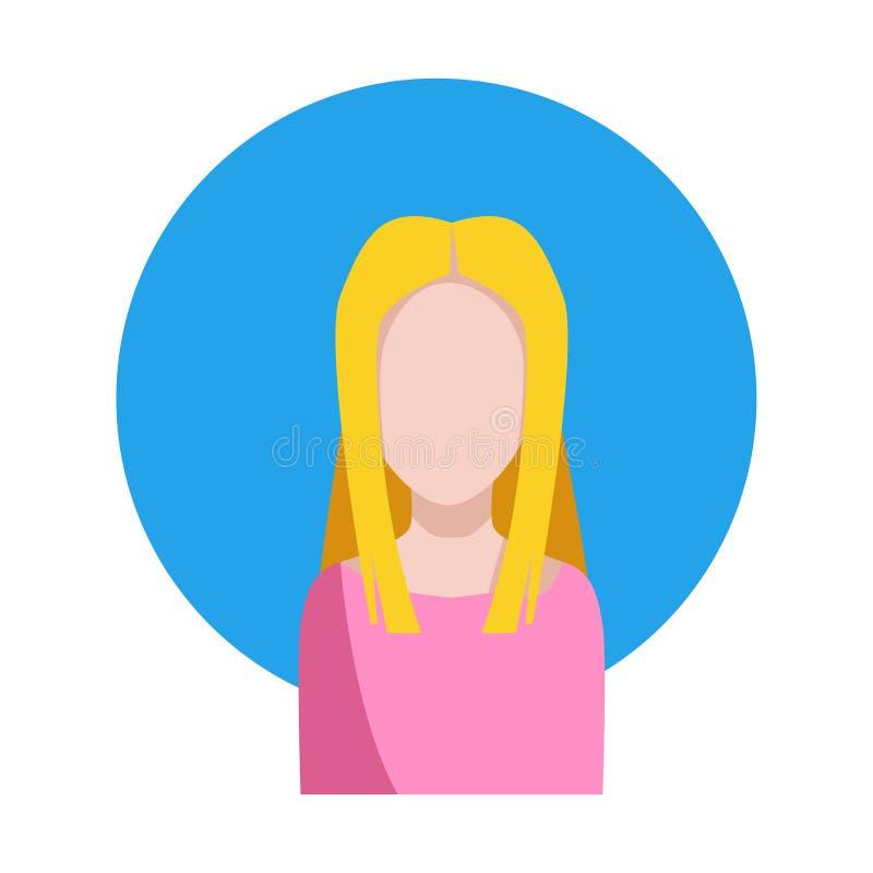 Sylwetka Europejska dziewczyna z blondynem Wektorowa ilustracja, wektorowa ikona royalty ilustracja