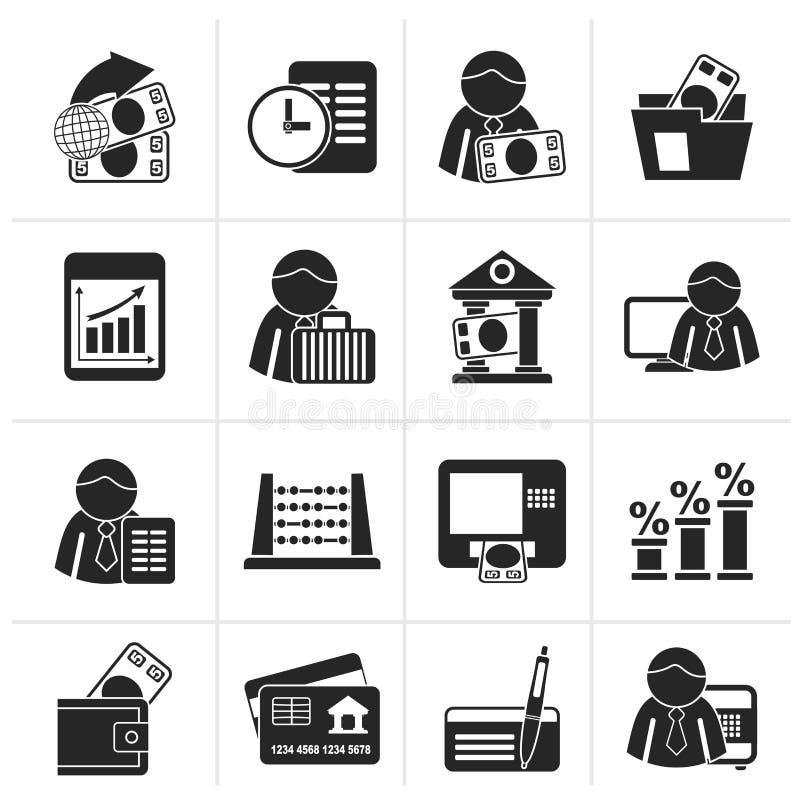 Sylwetka finanse i banka ikony ilustracji
