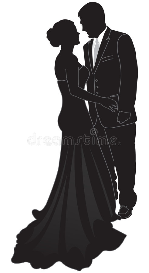 Download Sylwetka formalnej pary ilustracja wektor. Obraz złożonej z greaser - 4244443