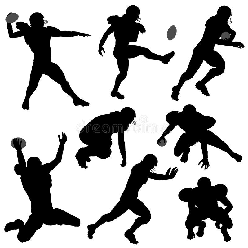 Sylwetka futbolu amerykańskiego gracze royalty ilustracja