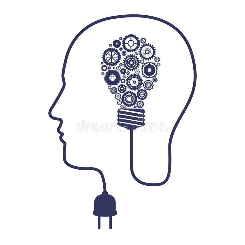 Sylwetka głowa z brainbulb i przekładniami royalty ilustracja