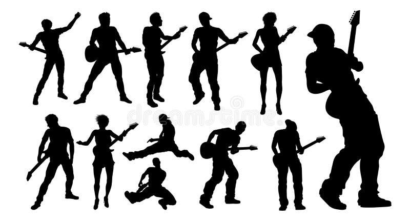 Sylwetka gitarzysty muzycy Ustawiający royalty ilustracja