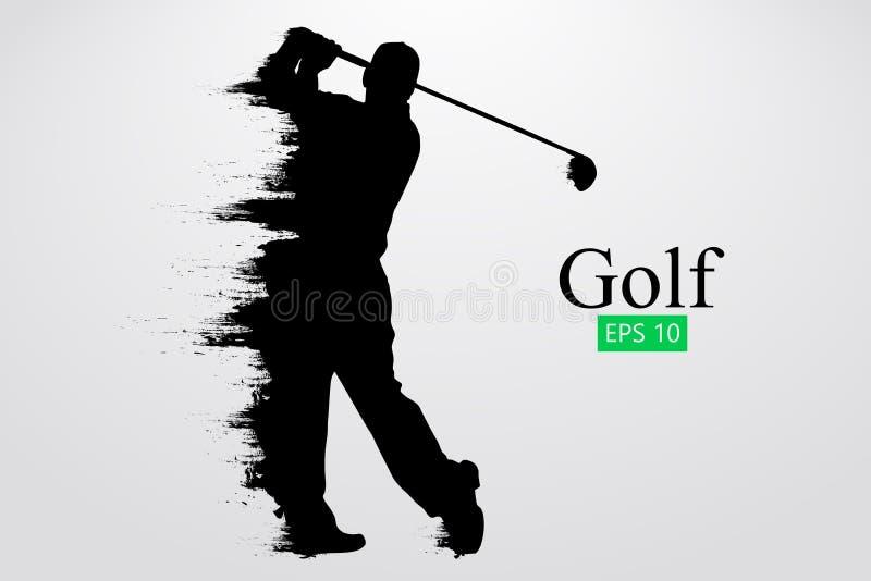 Sylwetka golfowy gracz również zwrócić corel ilustracji wektora