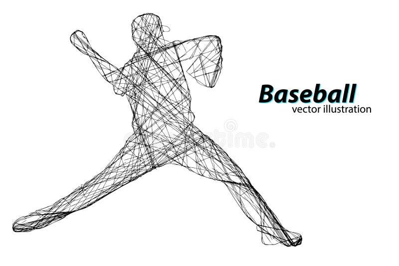 Sylwetka gracz baseballa również zwrócić corel ilustracji wektora royalty ilustracja