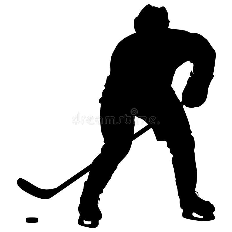 Sylwetka gracz w hokeja Odizolowywający na bielu royalty ilustracja