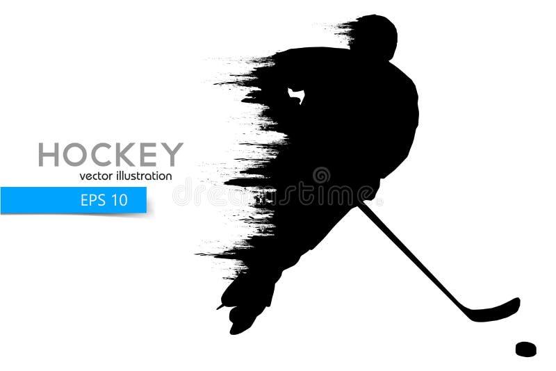 Sylwetka gracz w hokeja również zwrócić corel ilustracji wektora ilustracja wektor