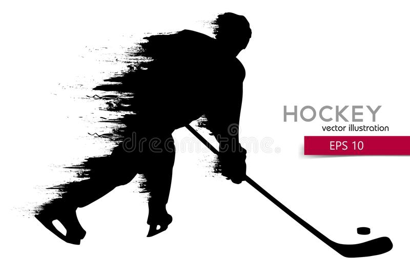 Sylwetka gracz w hokeja również zwrócić corel ilustracji wektora royalty ilustracja