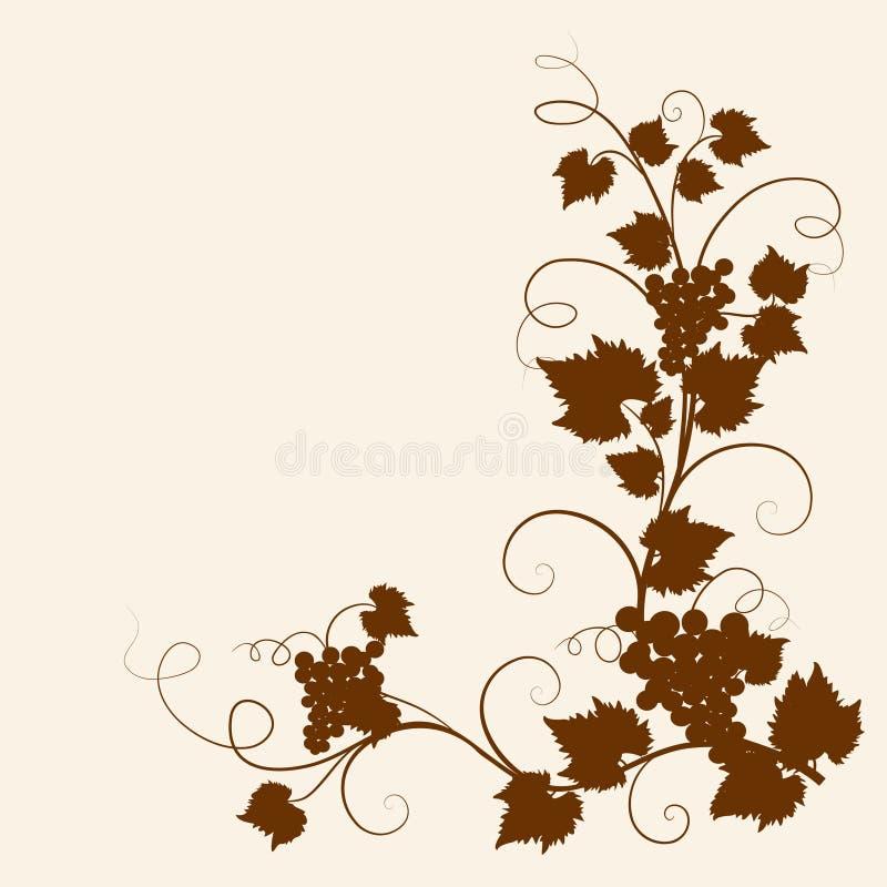 sylwetka gronowy winograd royalty ilustracja