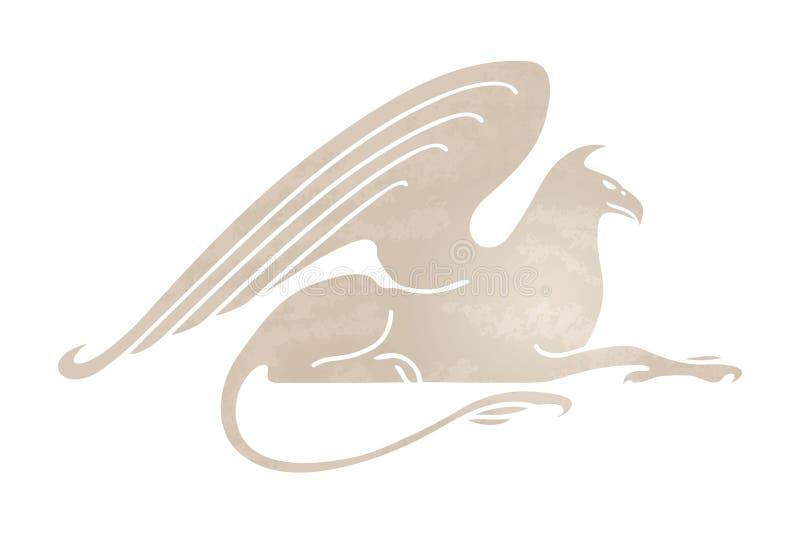 Sylwetka gryf Stylizowany gryphon wizerunek Wektorowa mityczna istota pojedynczy białe tło ilustracja wektor