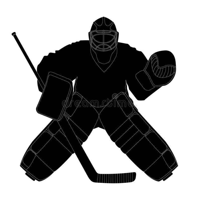 Sylwetka hokeja bramkarz royalty ilustracja
