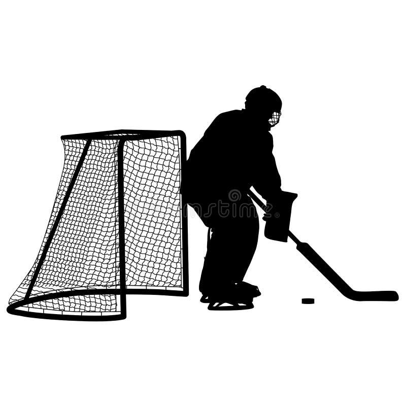 Sylwetka hokejowy bramkarz Odizolowywający na bielu ściągania ilustracj wizerunek przygotowywający wektor royalty ilustracja