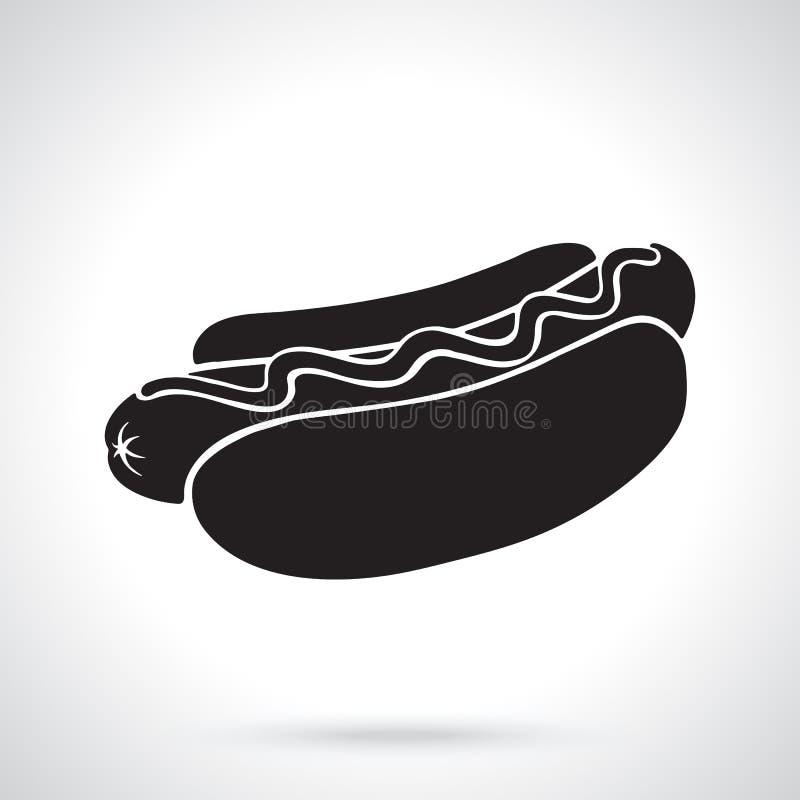 Sylwetka hot dog z musztardą ilustracja wektor
