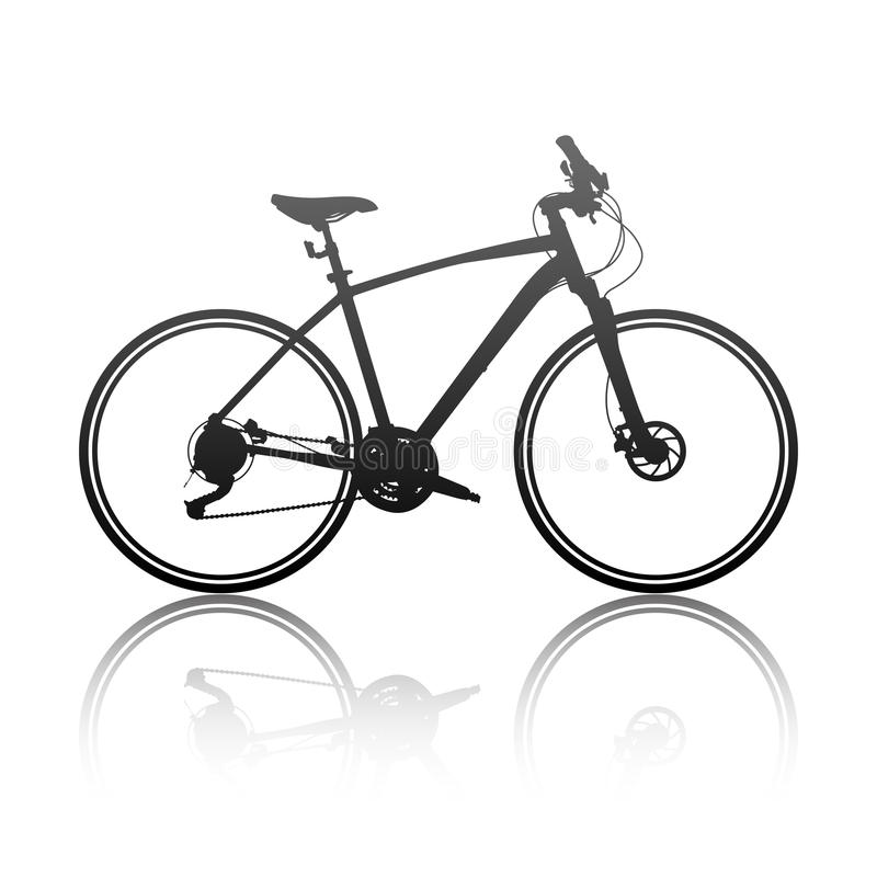 Sylwetka hybrydowy rower royalty ilustracja