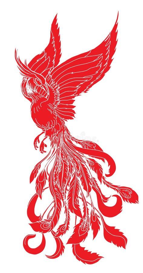 Sylwetka i czerwień feniksa ogienia ptak ilustracja wektor