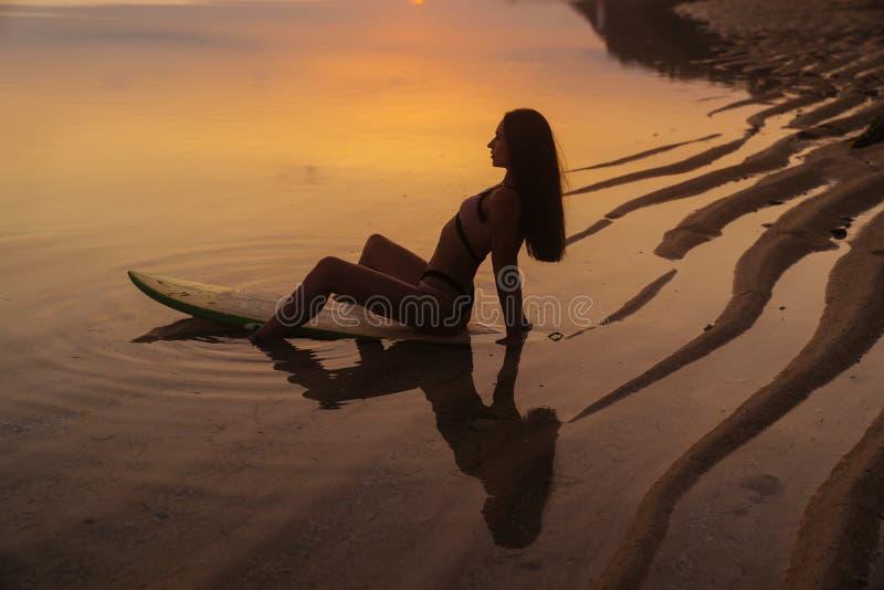 Sylwetka i odbicie dziewczyny obsiadanie na surfboard przy oceanem wyrzucać na brzeg na tle piękny zmierzch obrazy stock