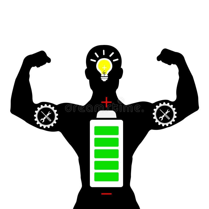 Sylwetka istota ludzka silna z lampowym i bateryjnym pomysłu pojęcia ilustratorem z royalty ilustracja