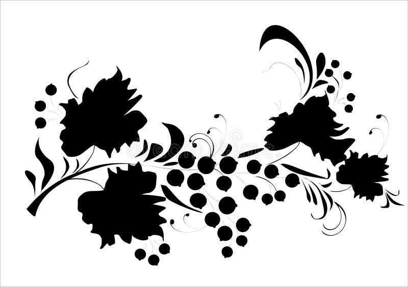 sylwetka jagody ulistnienia ilustracja wektor