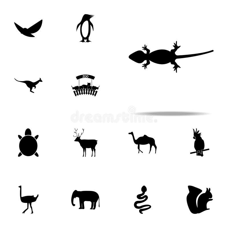 sylwetka jaszczurki ikona zoo ikon ogólnoludzki ustawiający dla sieci i wiszącej ozdoby royalty ilustracja