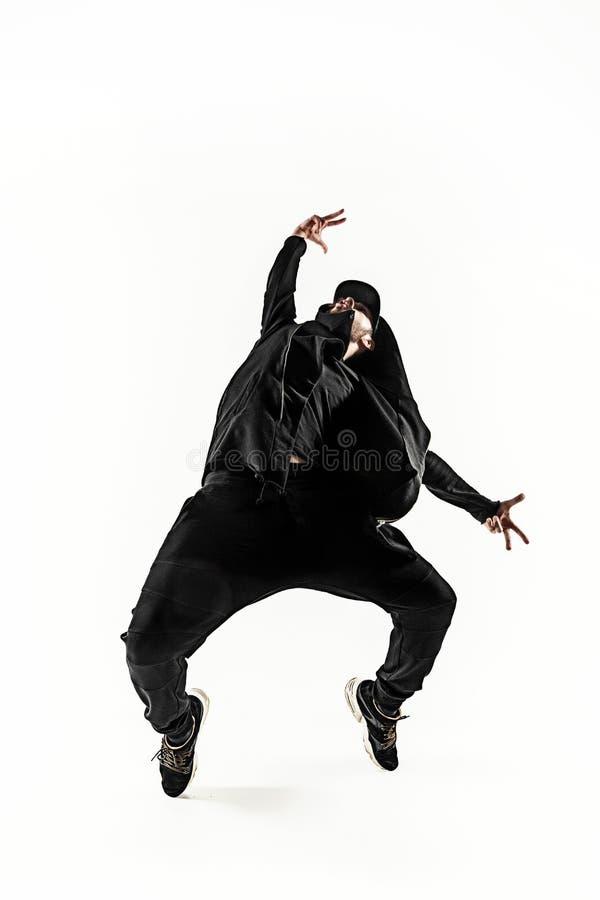 Sylwetka jeden hip hop przerwy tancerza męski taniec na białym tle zdjęcie royalty free