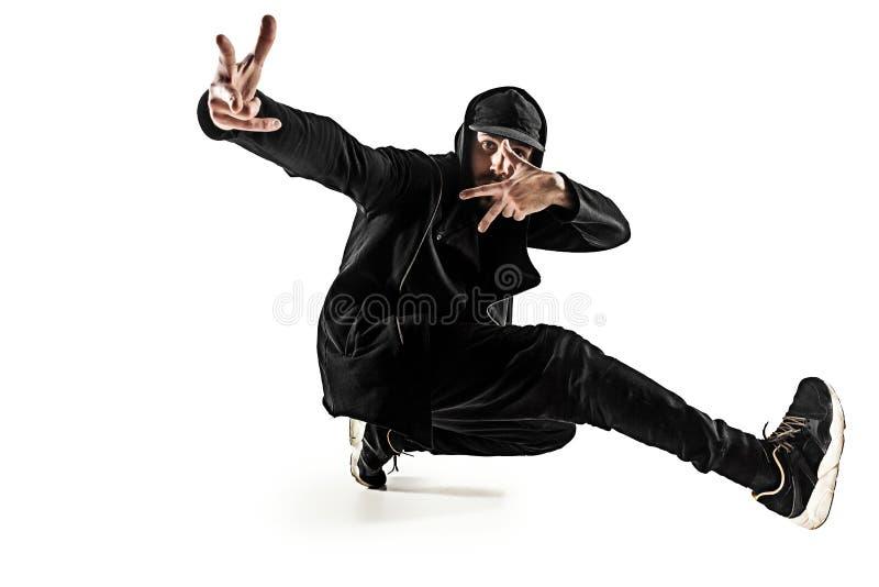 Sylwetka jeden hip hop przerwy tancerza męski taniec na białym tle obraz royalty free