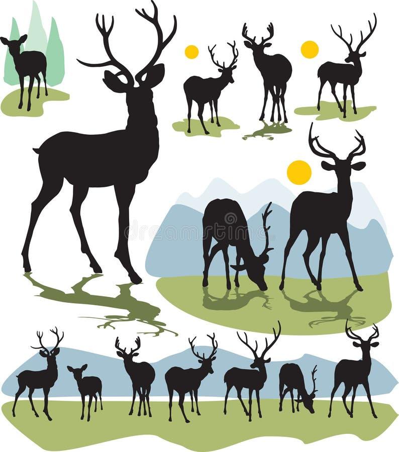 sylwetka jeleni ustalony wektor ilustracja wektor