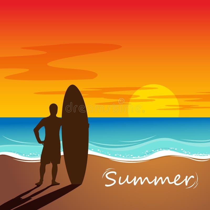 Sylwetka kipiel mężczyzna stojak z surfboard sunset surfingu royalty ilustracja