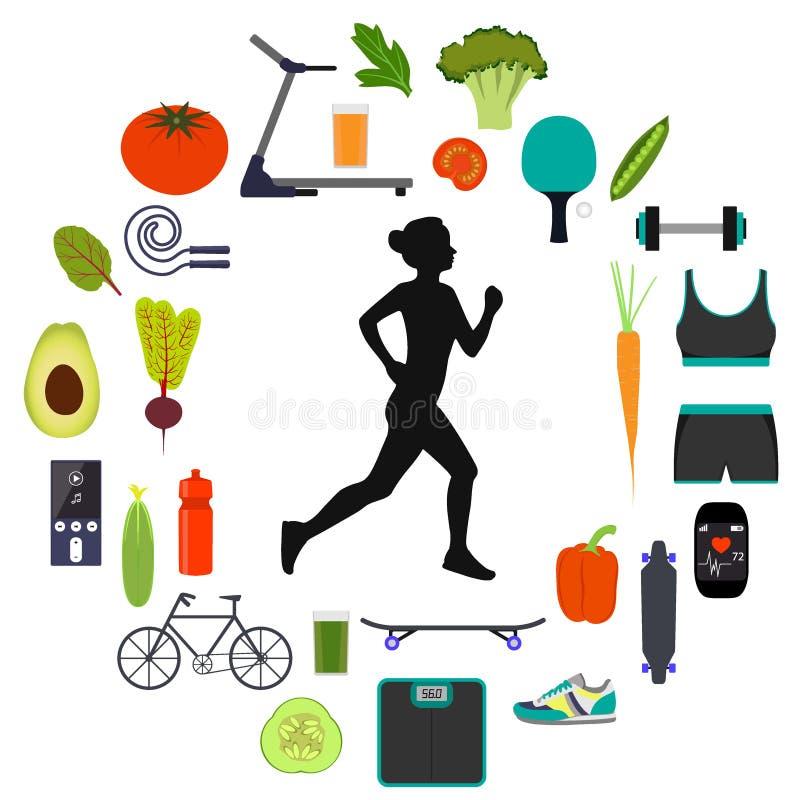 Sylwetka kobieta bieg, otaczająca ikonami zdrowy jedzenie, warzywa i sporta wyposażenie dla różnych sportów, Zdrowy ilustracja wektor