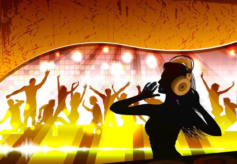 Sylwetka kobieta dj ilustracji